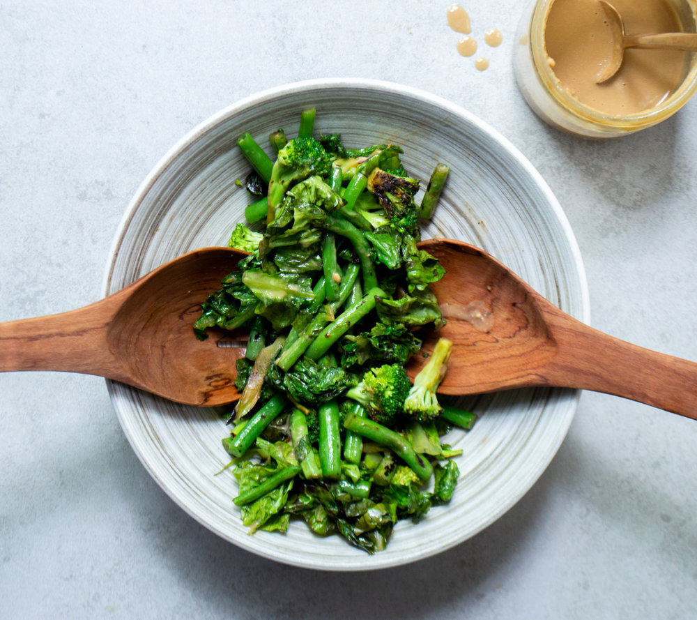 stir fried broccoli, green beans and lettuce