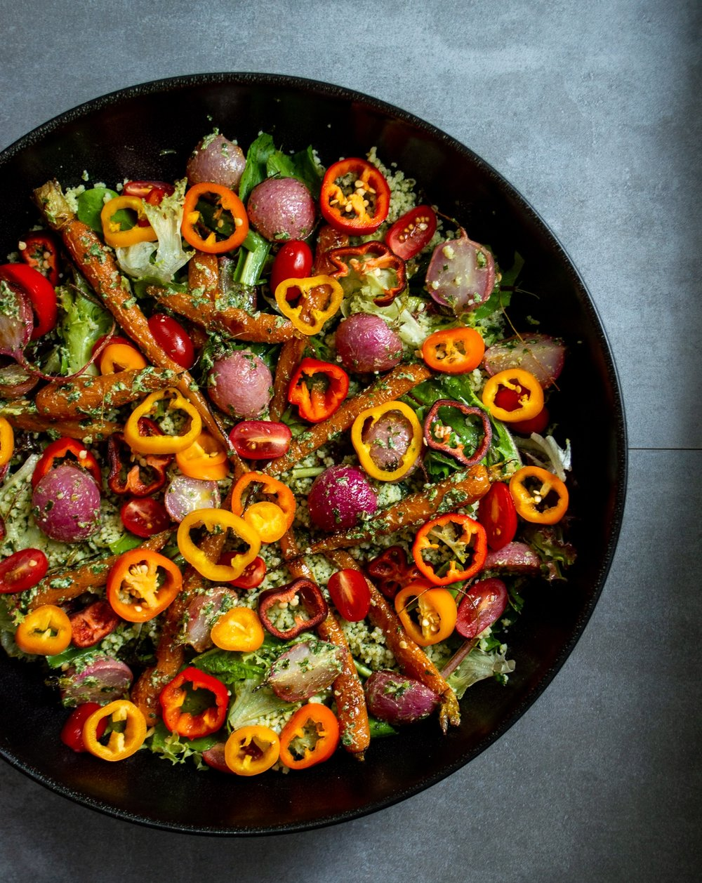 salad with party leftovers, roasted radish and carrots, herby cous cous