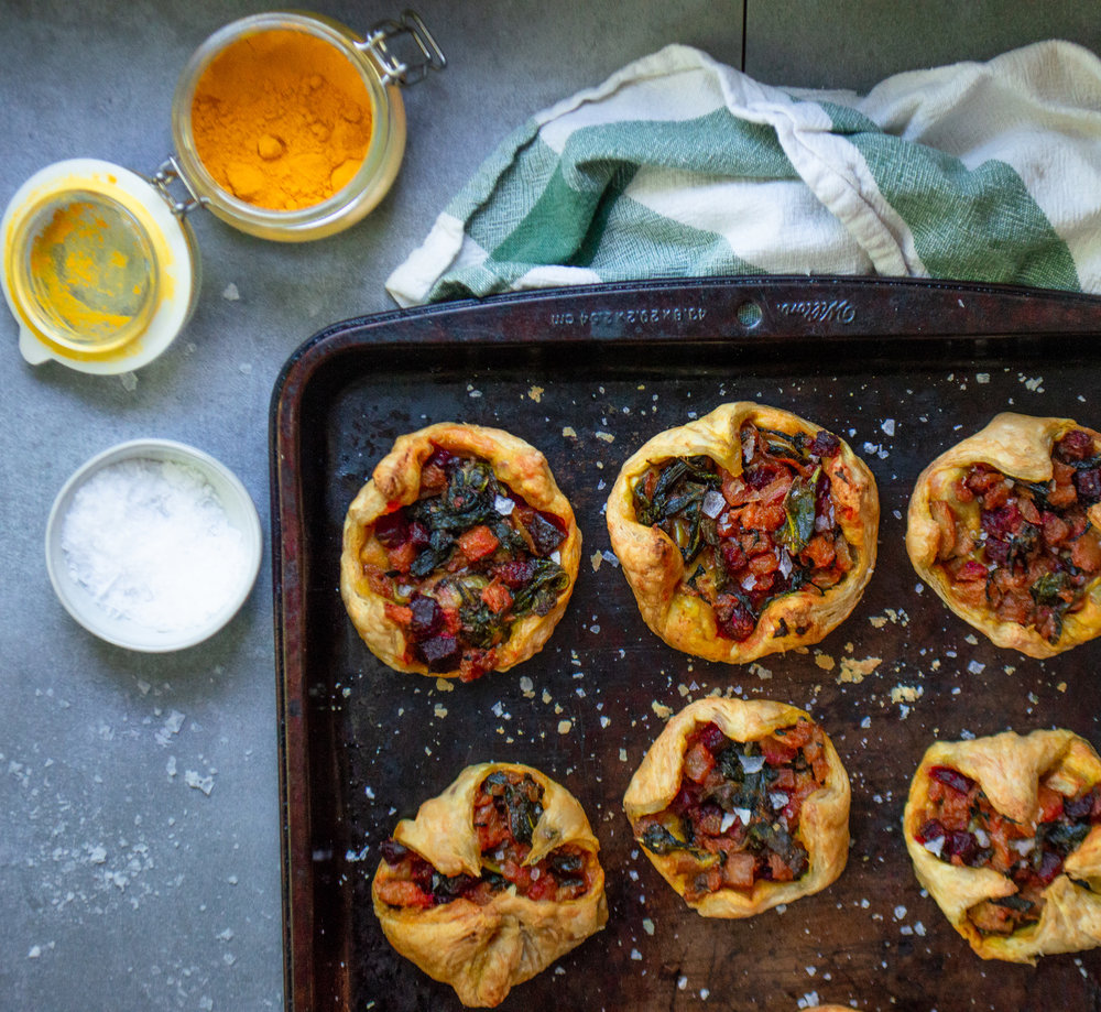 whole vegetable tarts to use up the beet, beet greens, beets stems and more