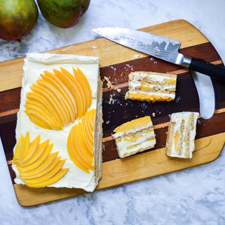 mango icebox cake with surplus fruit