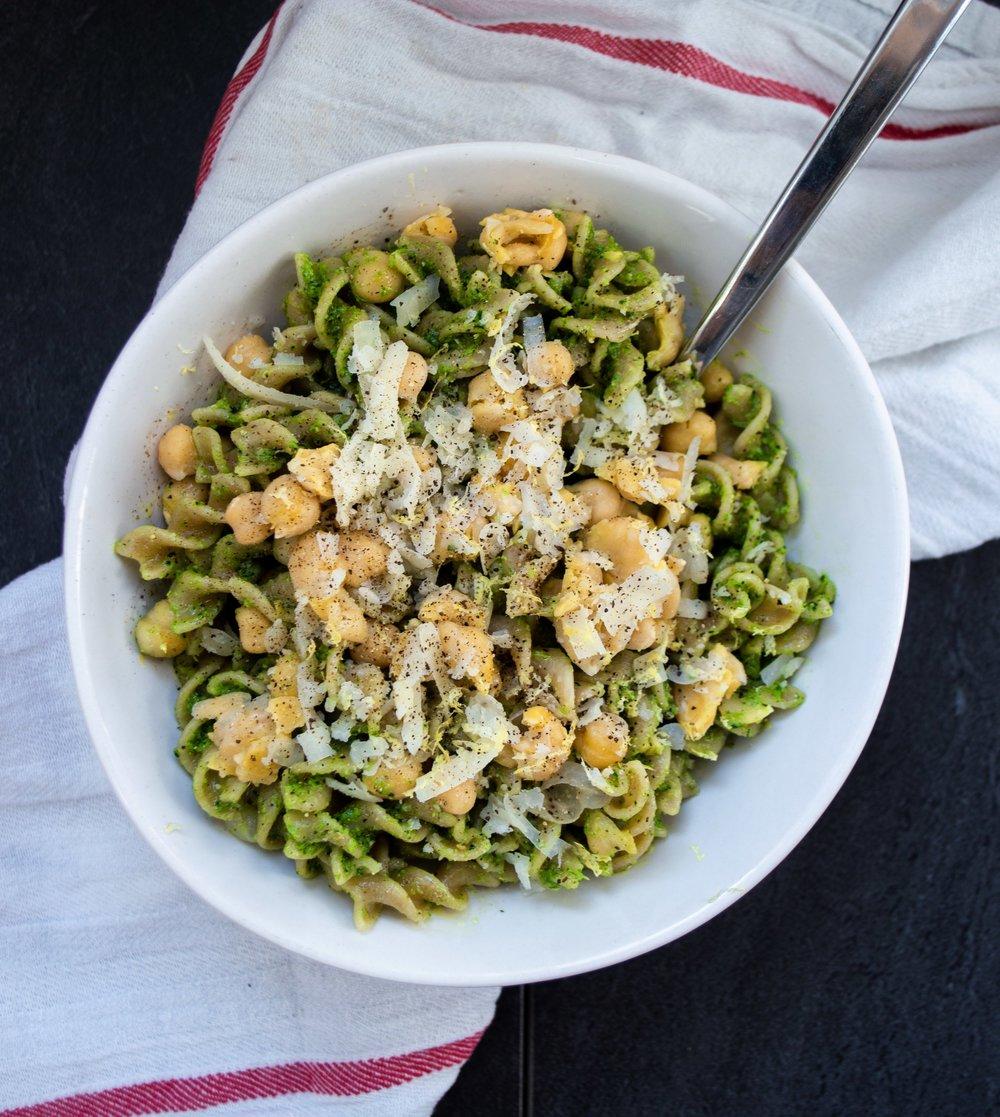 kale stem pesto with chickpea pasta