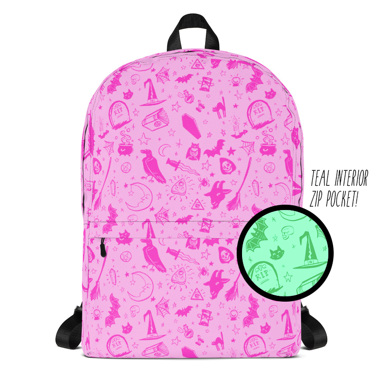 02db5c8f7600 Witchy Backpack | Pink & Teal — MorbidCuriosities