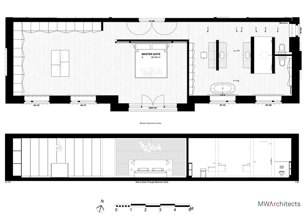 Luxury Master Suite Plan and Section - MW Architects