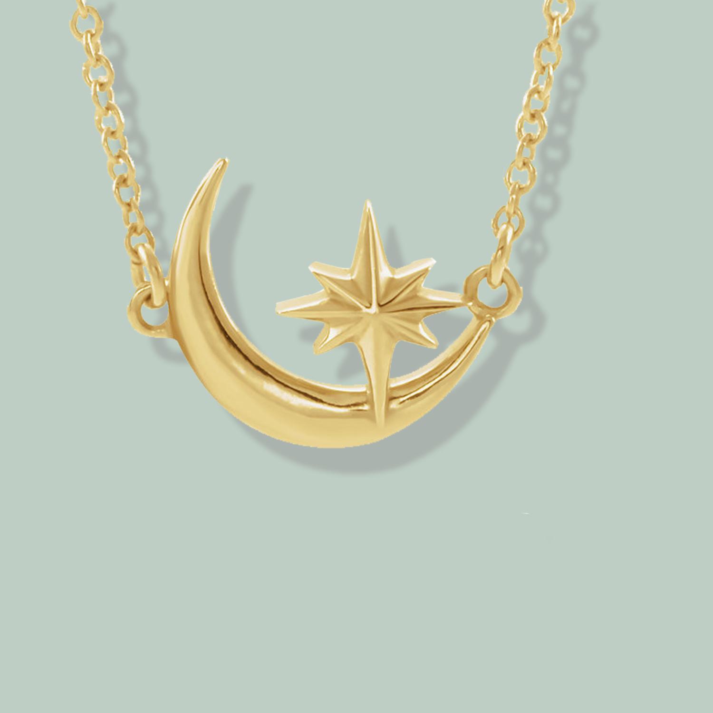 35cc5dd50396 14K Gold Crescent Moon   Star Necklace — Sundance Jewelers