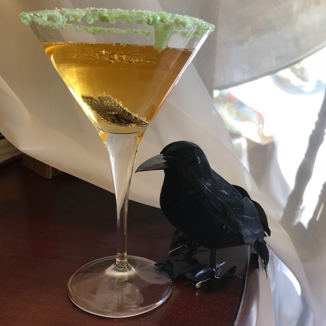 NOTE:  Although the razor blade in the candied apple is just an urban legend, it's  not  a myth that swallowing the razor blade inside this apple pie moonshine-based cocktail would be fatal. Remember, it's just a silly garnish. For once in your depraved life: don't swallow.