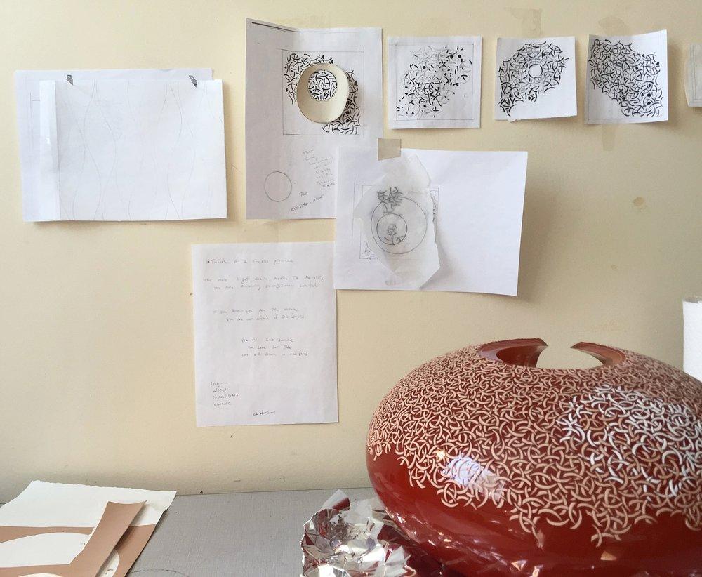Mbola in process, studio