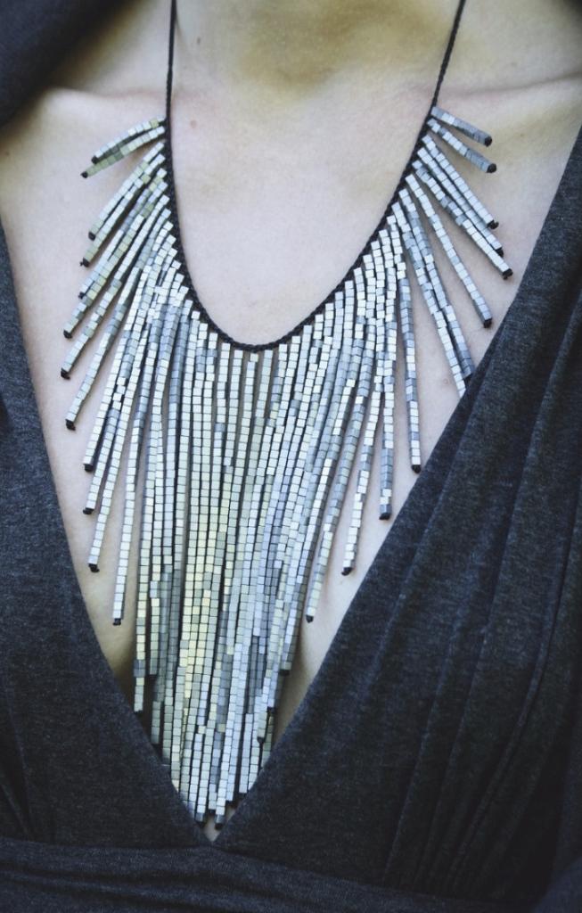 Hematite fringe necklace