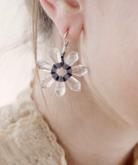Quartz flower earrings