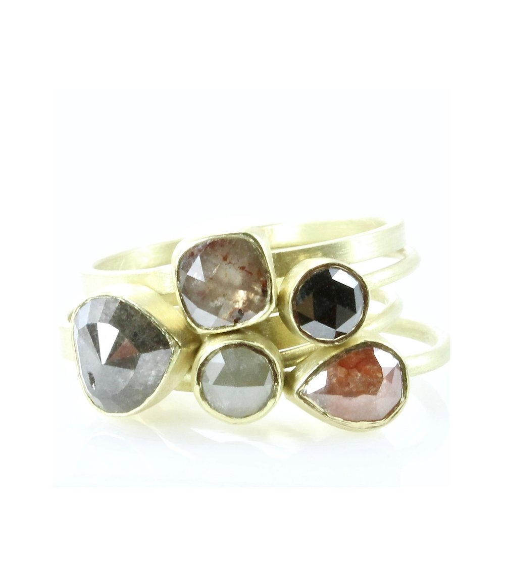 Stack of 5 colored diamond rings with 18k gold