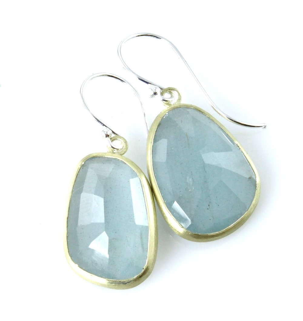 Milky aquamarine dangle earrings with 18k gold and sterling silver
