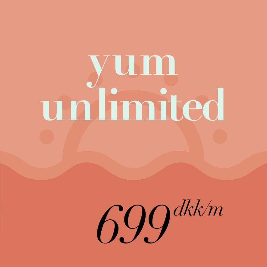 Unlimited Yum  Gives you unlimited access to our yoga classes.   Offer includes 10% discount in the café and Yum events.*   //  Med unlimited Yum, får du ubegrænset adgang  til alle vores faste yogaklasser, samt 10% rabat i caféen og på events.*