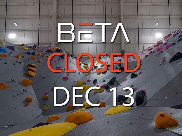 BETΛ will be closed entirely Thursday, December 13, 2018 for a private event.  BETΛ will reopen for normal hours and schedule on Friday, December 14, 2018.  We apologize for any inconvenience.  Please contact us if you have any questions.  Email address: info@betarocks.com Phone number: (203) 580-9963