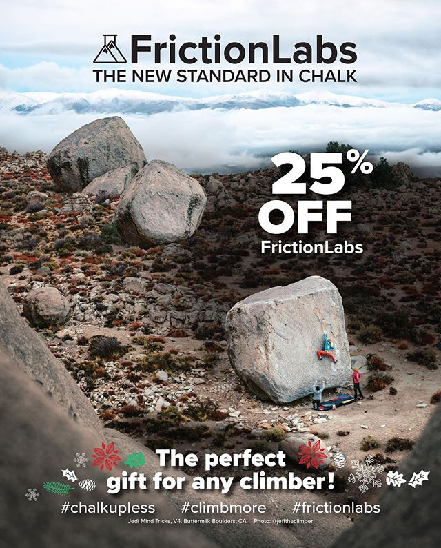 Tis the season for sending! Friction Labs is here to power you through your projects with a special discount for all the good climbers this holiday season. From now till December 19th, enjoy 25% off ALL Friction Labs chalk + products at BETA.  The perfect gift for any climber! #thegoodbeta #climbwithbeta #climbstamford #frictionlabs