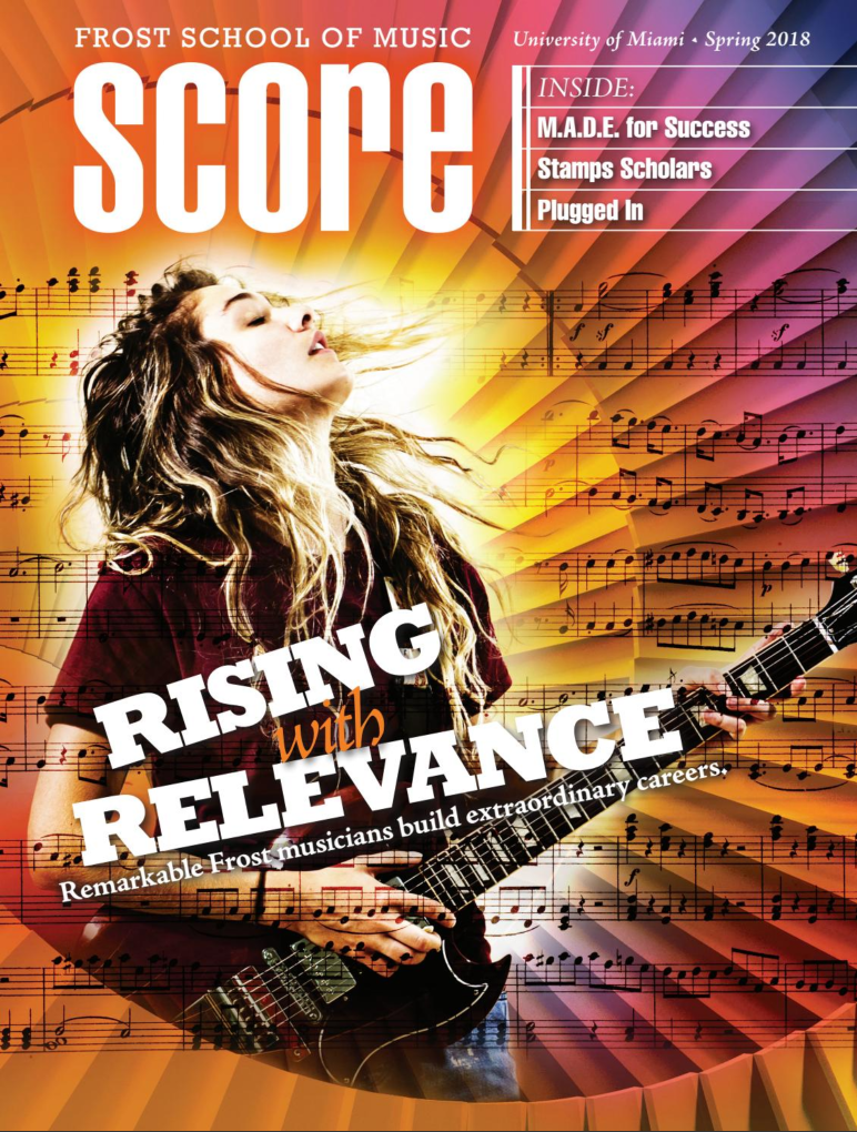 SCORE magazine from the Frost School of Music has been publishing many of my images for many years. This year, for the first time, one of my shots landed on the cover!