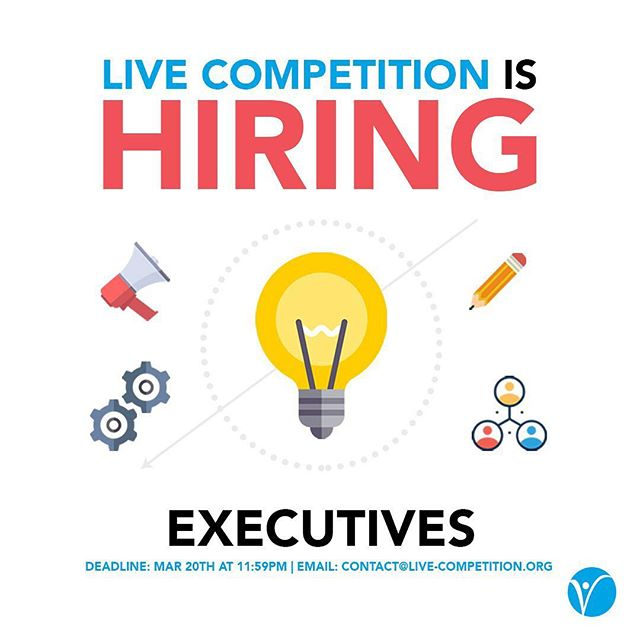 Are you innovative? Want to join an amazing team? 🤩 Now's your chance! LIVE is hiring executives for it's 2019/2029 year‼️ You can find applications at: https://live-competition.org/  Deadline to apply is March 20th at 11:59PM.