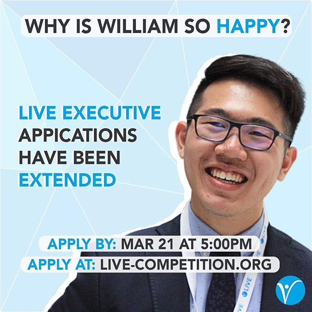 Time is ticking ⏳ LIVE application deadline has been EXTENDED❗️ . Applications are now due TOMORROW at 5:00PM . Apply now at: live-competition.org . Be smart. Be like William. Apply for LIVE.