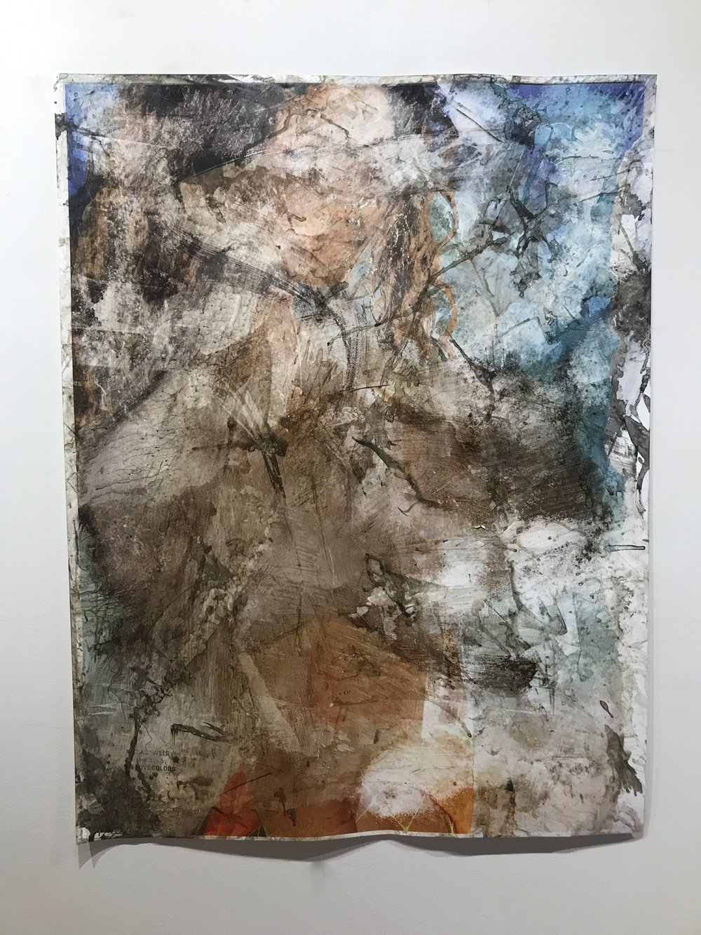 Fishnets   2018  47 x 36 in.  Citra solv on magazine, nail polish remover, pine sol, bleach, and window cleaner on photo paper