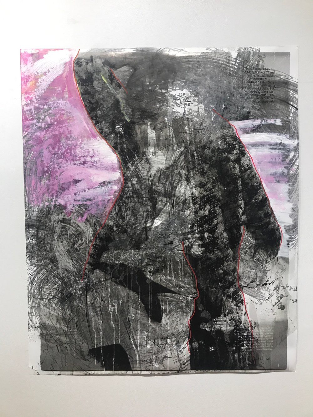 Elle 131   2018  43 x 36 in.  Citra solv on magazine, windex, bleach, acrylic, liquid acrylic, and marker on photo paper