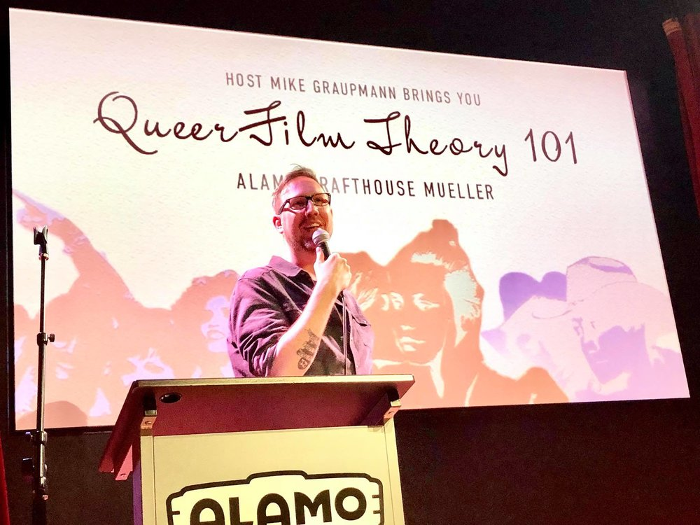 Mike Graupmann - Mike Graupmann is a corporate slave by day but an emcee, storyteller and movie lover by night. He is the producer and co-host of Austin's Queer Film Theory 101, which happens on the first Wednesday of every month at the Alamo Drafthouse - Mueller's Barrel o' Fun! He also co-parents Daniel the Most Beautiful Pug in the Universe, and Charlie the Basset Hound Who Climbs Trees!