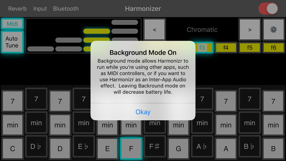 Compatibility  - Harmonizr is built from the ground up to be compatible through conforming to the Audio Unit v3 interface.  You can use Harmonizr as an effect in any app that acts as an AUv3 host.If you'd like to use Harmonizr with other apps, slide the background switch to the on position.  This enables Inter-App Audio, and enables you to control Harmonizr with an external MIDI app.  Using SoundPrism as a controller is a lot of fun, and there are many others available!