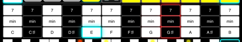 Keycenter - This is perhaps the most important part of the Harmonizr screen.For each note of the chromatic scale, you can select Major (note name), Minor (min), and Dominant (7) key centers. The current key center is highlighted in cyan. Note the similarity to the layout of a piano keyboard. Here, instead of playing single notes, you're selecting entire harmonic systems.Harmonizr will generate up to 3 voices of automatic harmony based on the key center and which note you're singing. For reference, the note you're singing is highlighted in red.