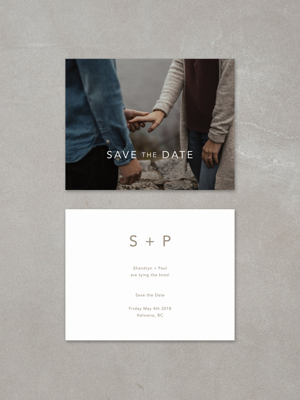 Forelsket // Save The Date Card in fawn ink