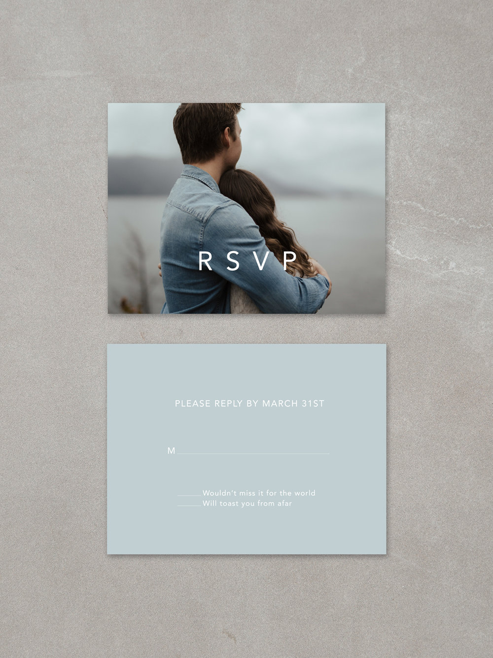 Forelsket // RSVP Card in fog ink background