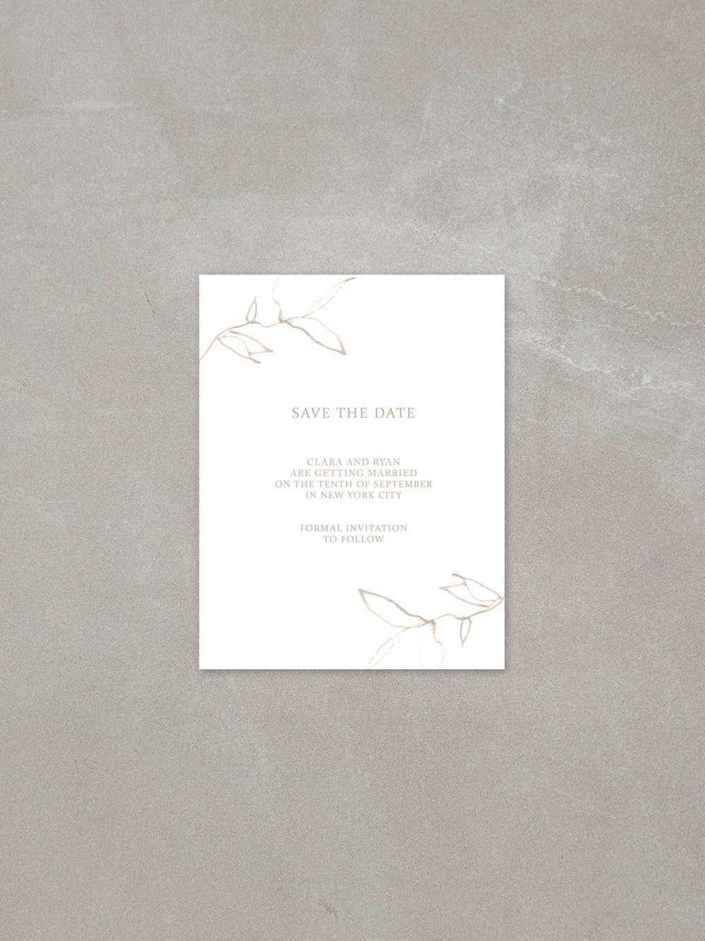 Elysian // Save The Date Card in sandstone