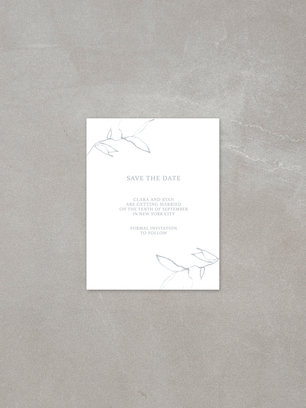 Elysian // Save The Date Card in cement