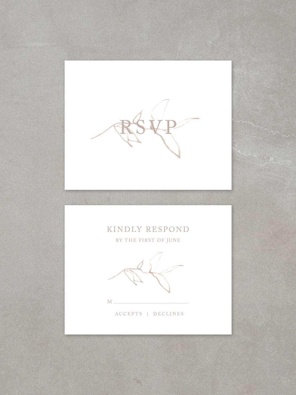 Elysian // RSVP Card in sandstone
