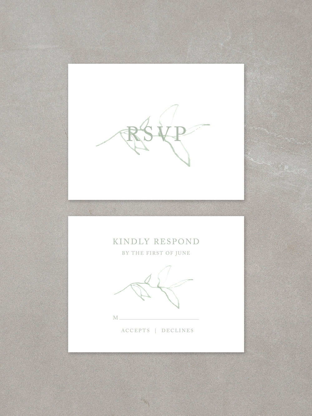 Elysian // RSVP Card in sage