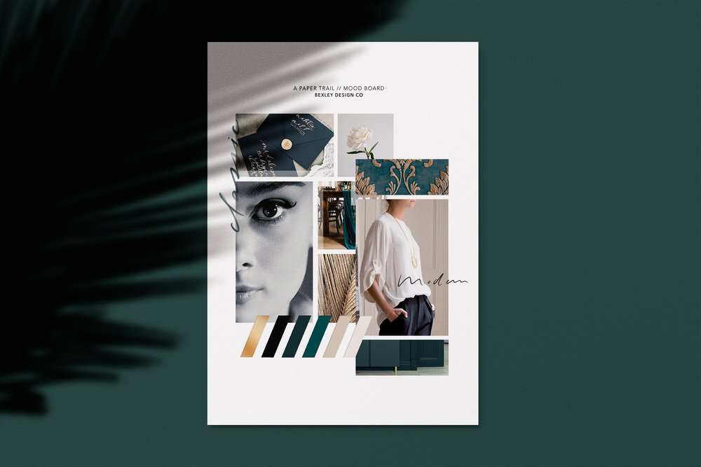 A Paper Trail // Logo Design // Bexley Design Co Branding  // Mood Board