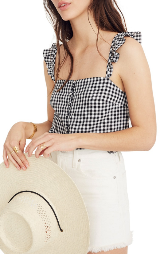 Copy of Madewell Gingham Ruffle Shirt $55