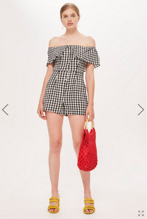 Copy of  Topshop Gingham Bardot Playsuit $65