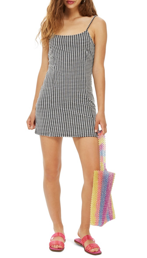 Copy of Topshop Gingham Pinafore Minidress $50