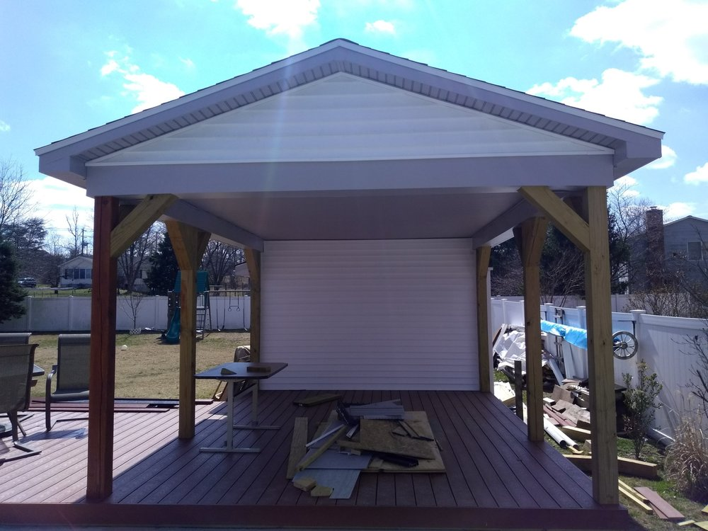 Finished this pavilion with vinyl siding and beaded soffit.