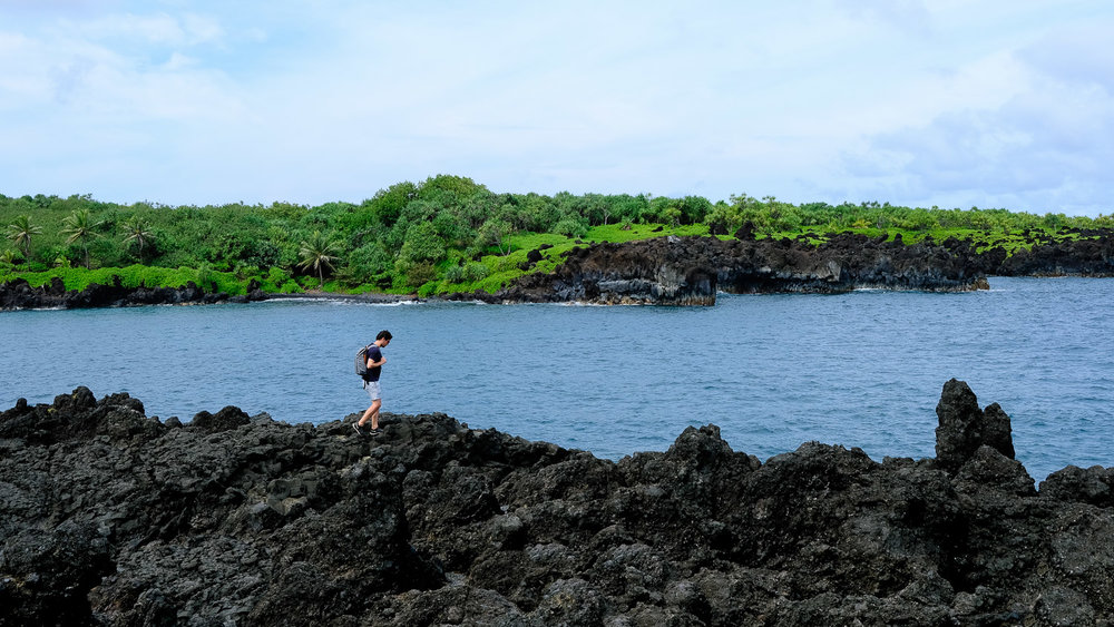 Walking along the lava rock