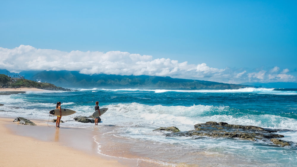 Surfers at Ho'okipa Beach Park