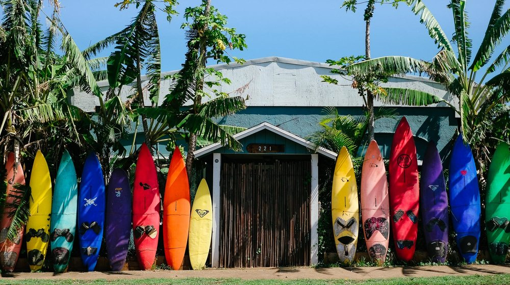 Rainbow surfboards at a Maui home