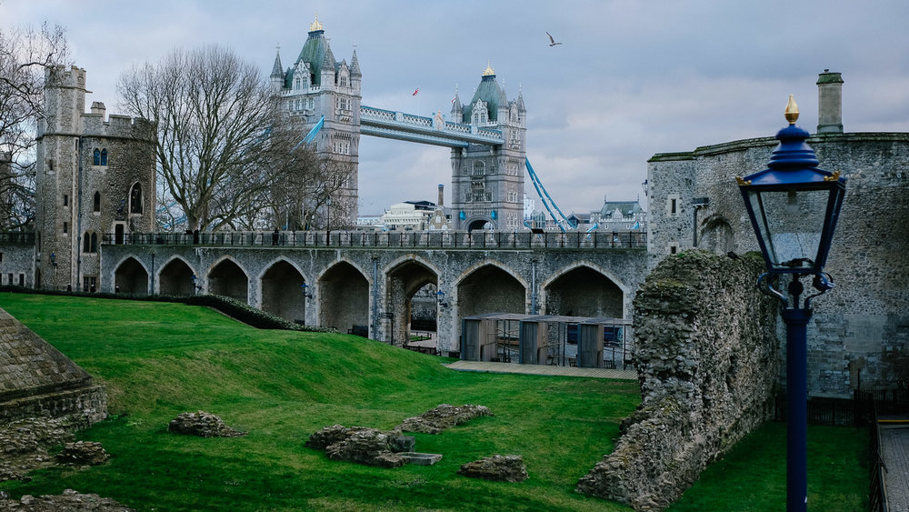 London Bridge from the inside of the Tower of London