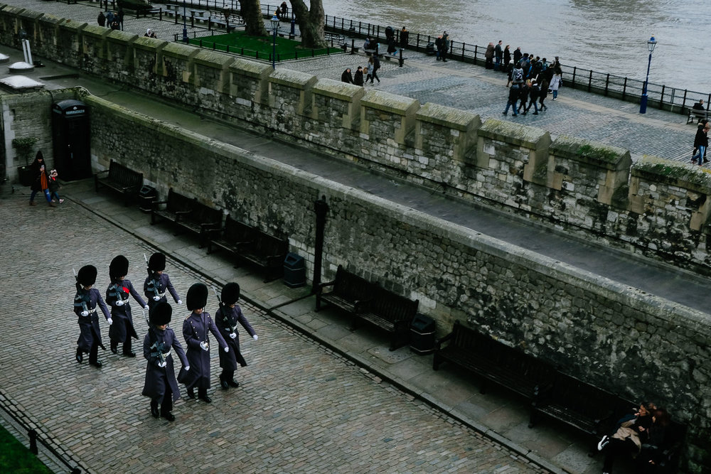 A group of guards marching