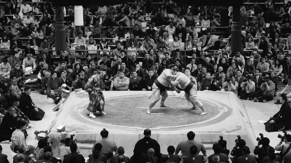Fighters in a bout at the Grand Sumo Tournament in Osaka