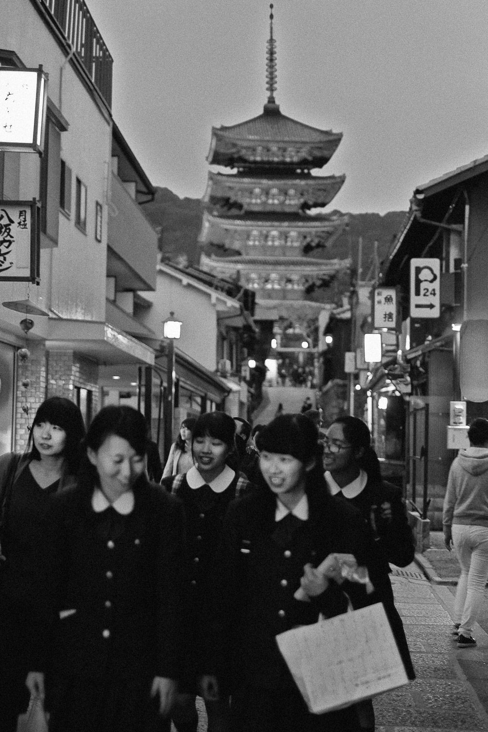 Japanese school girls in Kyoto