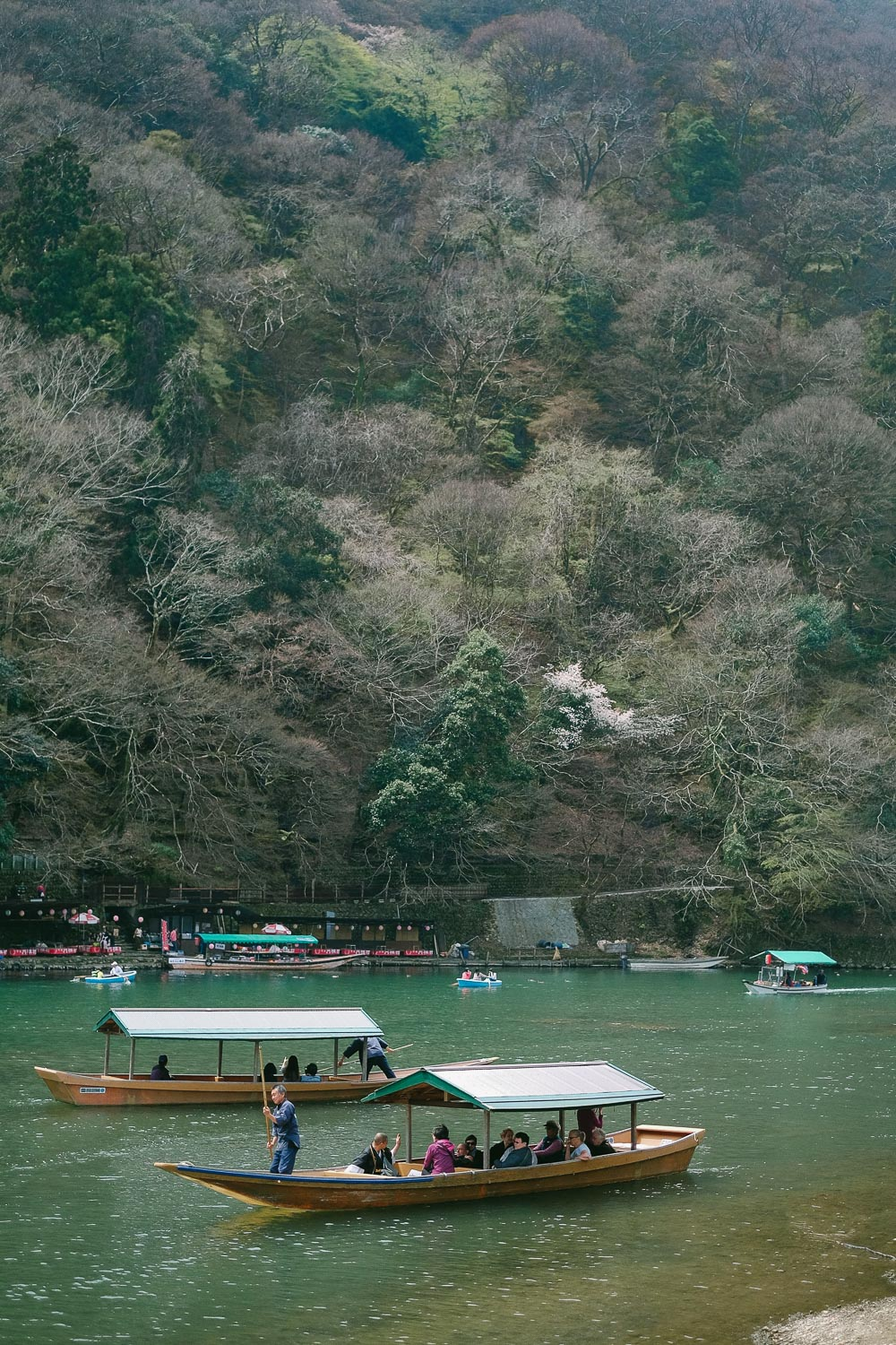 Boats in the Ōi River in Arashiyama