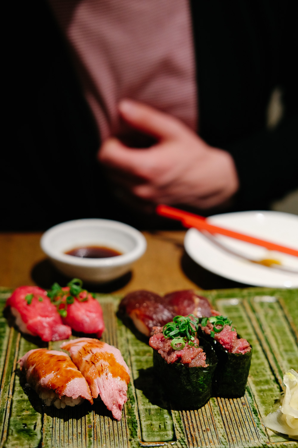 Raw meat sushi in Tokyo