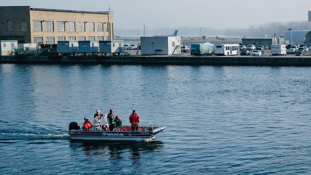 Santa and the police on Lake Ontario