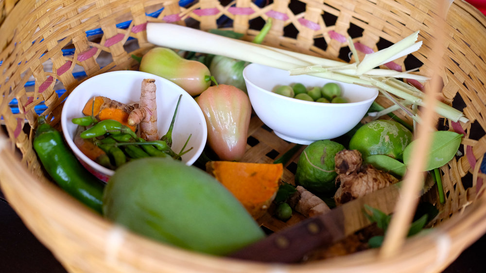 Roots and vegetables from the Thai Farm Cooking School