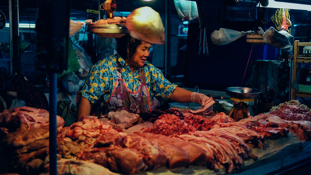 Meat at a market in Chiang Mai