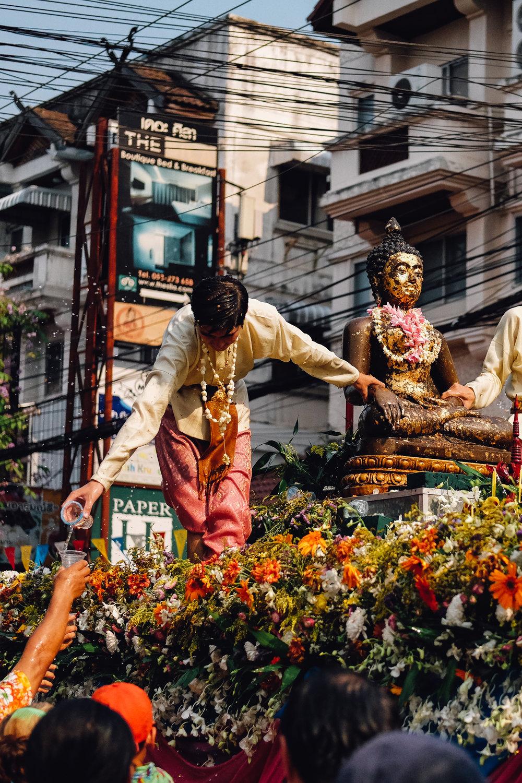 A blessing at the Songkran Parade in Chiang Mai