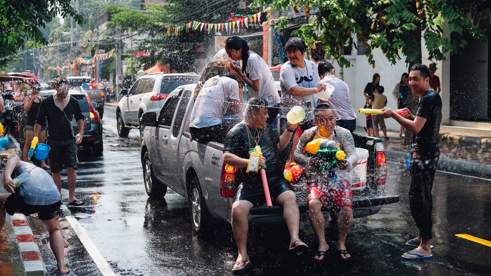Getting in a massive water fight during Songkran